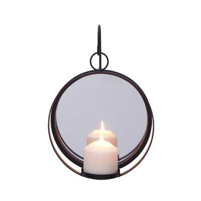 DANYA B Porto Round Iron Pillar Candle Sconce with Mirror, Black - Home Depot
