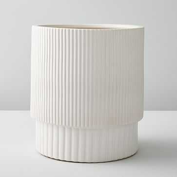 Fluted Planters, White, Large - West Elm