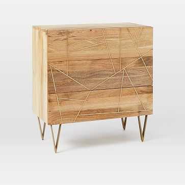 Roar + Rabbit Brass Geo-Dresser 3-Drawer, Mango/Antique Brass - West Elm