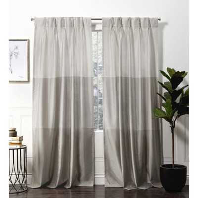 Exclusive Home Curtains Chateau Dove Grey Room Darkening Triple Pinch Pleat Top Curtain Panel - 27 in. W x 96 in. L (2-Panel) - Home Depot