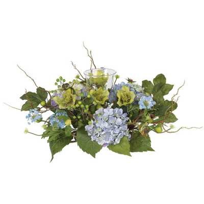 Hydrangea Candelabrum Silk Flower Arrangement - Home Depot