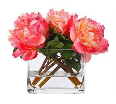 Faux Peonies Arrangement in Square Vase - Pottery Barn