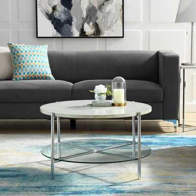 32 in. White Marble Top Glass Shelf Chrome Legs Round Coffee Table, Faux White Marble/Grey - Home Depot