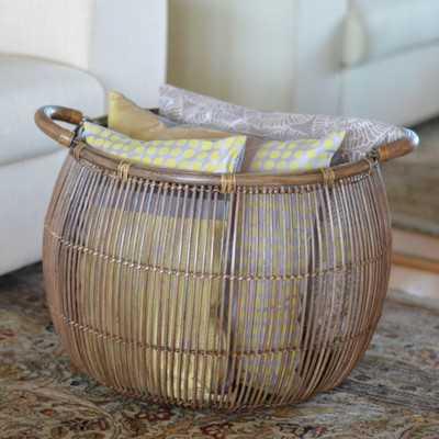 Rattan Open Weave Storage Basket - Wayfair