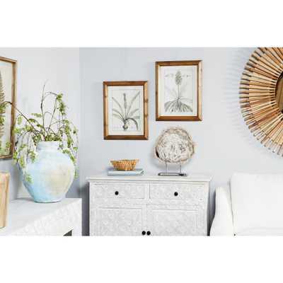 """Litton Lane """"Vintage Botanical Prints"""" Framed Wooden Wall Art (Set of 2), Light Brown - Home Depot"""