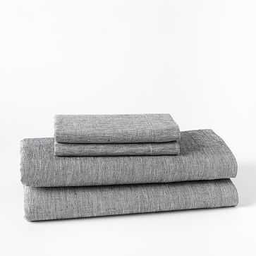 Belgian Linen Melange Sheet Set, Full, Slate - West Elm