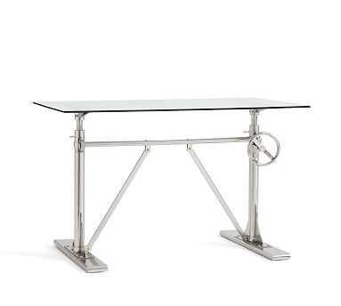 Pittsburgh Crank Standing Desk, Glass/Nickel - Pottery Barn