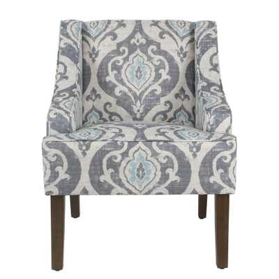 Global Damask Suri Blue Classic Swoop Accent Chair, Blue And White - Home Depot