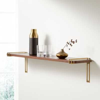 """Riggs 36"""" Walnut Shelf with Brass Duo Band Brackets - Crate and Barrel"""