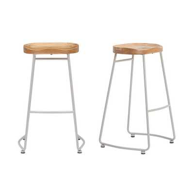 StyleWell Riverbed Brown Metal Backless Bar Stool with Wood Seat (Set of 2) (18.5 in. W x 29.52 in. H) - Home Depot