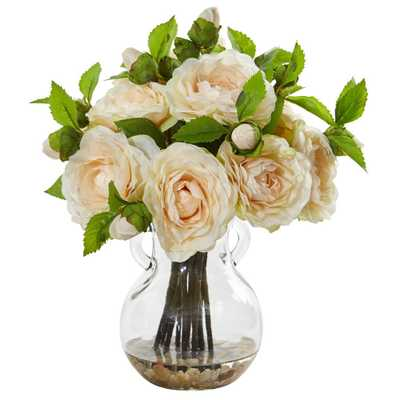 Nearly Natural Indoor Camellia Artificial Arrangement in Vase - Home Depot