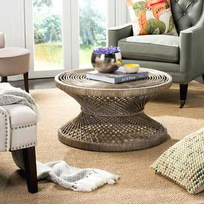 Grimson Large Bowed Gray White Wash Coffee Table - Home Depot