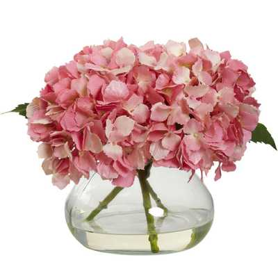 Blooming Hydrangea with Vase - Home Depot