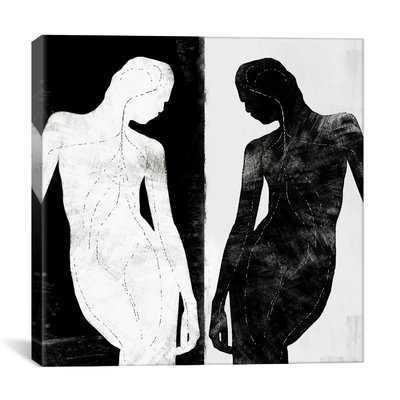 Modern Contrasting Silhouette Figure Graphic Art on Canvas - AllModern