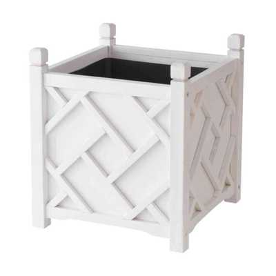 Chippendale 18 in. Square White Wood Planter - Home Depot