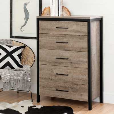 Munich 5-Drawer Weathered Oak Chest - Home Depot