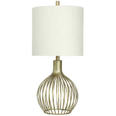 StyleCraft 31 in. Vintage Gold Table Lamp with White Hardback Fabric Shade - Home Depot