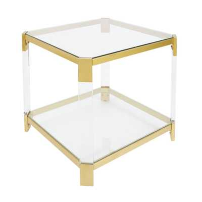 Huxley Clear and Gold End Table - Home Depot
