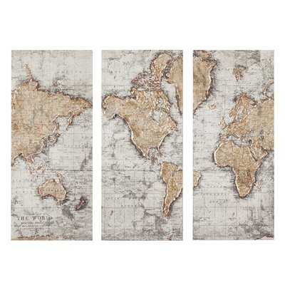 'Map of the World' Graphic Art Print Multi-Piece Image on Canvas - Wayfair