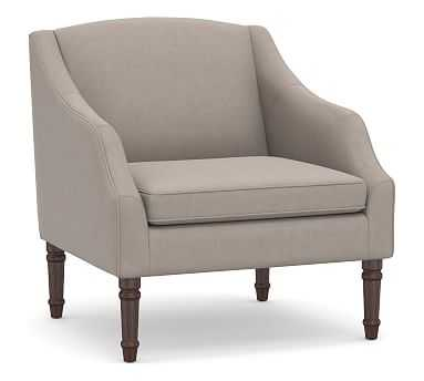 SoMa Emma Upholstered Armchair, Polyester Wrapped Cushions, Performance Everydayvelvet(TM) Carbon - Pottery Barn