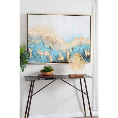 Litton Lane Turquoise and Gold Abstract Framed Wall Art - Home Depot