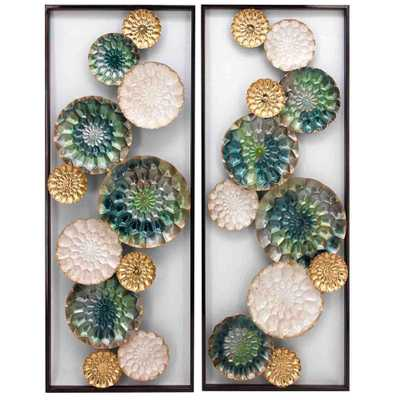 Wreathed Composition II - Alternative Transitional Wall Sculptures - Set of 2 panels, Multicolored - Home Depot