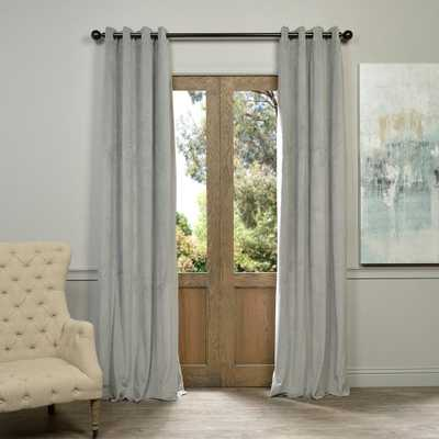 Exclusive Fabrics & Furnishings Blackout Signature Silver Grey Grommet Blackout Velvet Curtain - 50 in. W x 108 in. L (1 Panel) - Home Depot