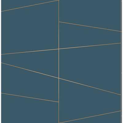 56.4 sq. ft. Fairmont Blue Deco Fracture Wallpaper - Home Depot