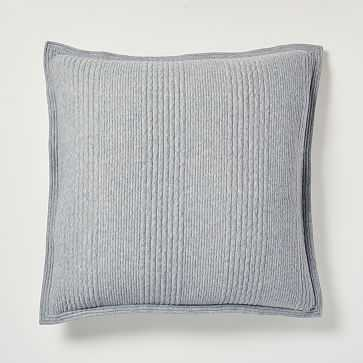 Cotton Jersey Cloud Euro Sham, Medium Heather Gray - West Elm