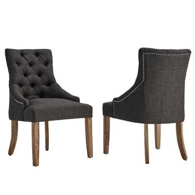 Marjorie Dark Grey Linen Button Tufted Dining Chair (Set of 2) - Home Depot
