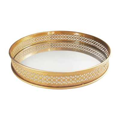 American Atelier 15 in. x 2.25 in. x 15 in. Gold Metal and Glass Round Serving Tray - Home Depot