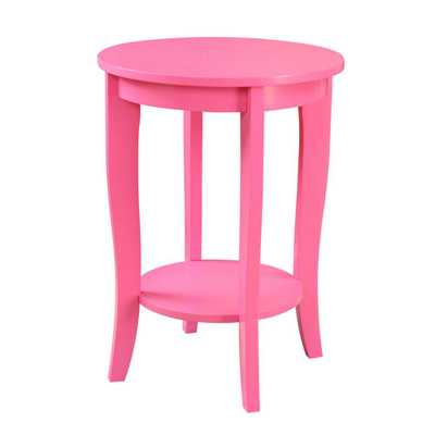 American Heritage Round Pink End Table - Home Depot