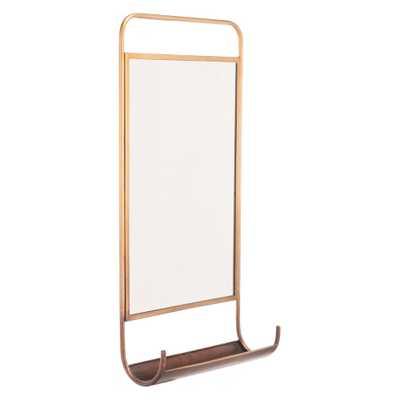 "ZM Home 28.3"" x 14.2"" Industrial Modern Mirror & Wall Organizer, Gold - Target"
