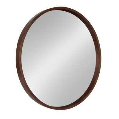 Hutton Round Walnut Brown Mirror - Home Depot