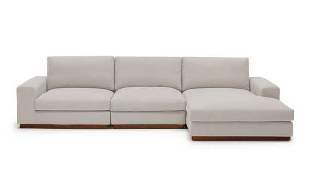 Beige Holt Mid Century Modern Modular Sectional - Merit Dove - Medium - Right - Joybird