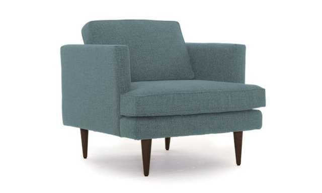 Blue Preston Mid Century Modern Chair - Essence Aqua - Coffee Bean - Joybird