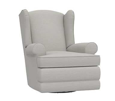 Wingback Swivel Gilder, Power, Performance Slubby Chenille, Fog (A) - Pottery Barn Kids