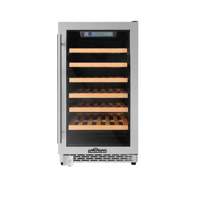 Thor Kitchen 18 in. 40-Bottle Single Zone Built-in/Freestanding Wine Cooler, Silver - Home Depot