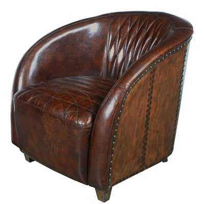 Sheldon Quilted Leather and Copper Club Chair in Chestnut Brown - Wayfair
