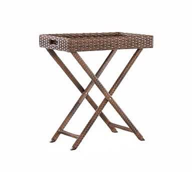 Abrego All-Weather Wicker Tray Accent Table - Pottery Barn