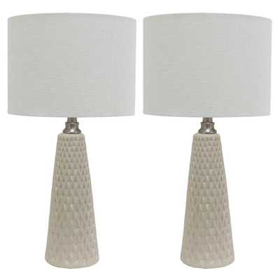 Decor Therapy Jameson 26.5 in. Ivory Table Lamp with Linen Shade - Home Depot