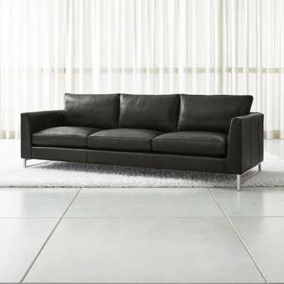 """Tyson Leather 102"""" Grande Sofa with Stainless Steel Base - Crate and Barrel"""