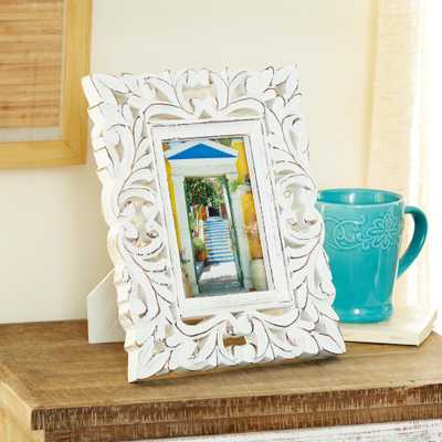 Litton Lane 4 in. x 6 in. Rectangular Carved Wood Antique Picture Frame with Whitewash Finish, White - Home Depot