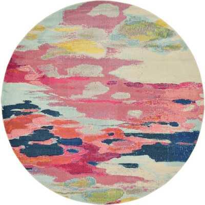 Barcelona Pink 8' x 8' Round Rug - Home Depot