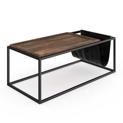 Nathan James Felix Nutmeg Wood Top and Black Metal Frame Mid-Century Industrial Coffee Table with Magazine Holder, Nutmeg/Black - Home Depot