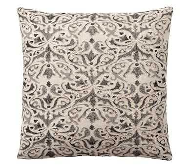 "Reilley Embroidered Pillow, 22"", Steel Gray - Pottery Barn"