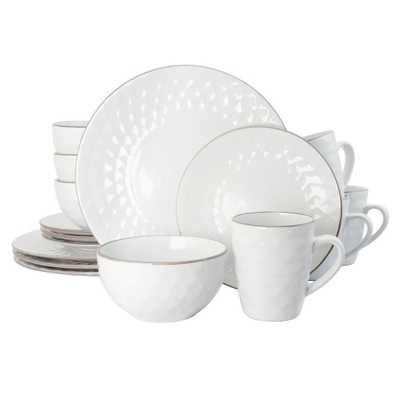 Medici Pearl 16-Piece White Dinnerware Set - Home Depot