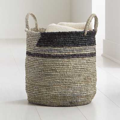 Jaylin Blue Grey Round Sisal Basket - Crate and Barrel