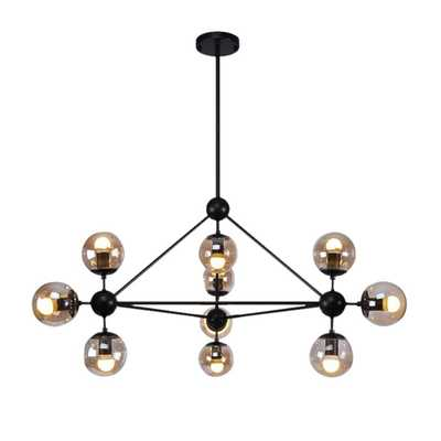 Warehouse of Tiffany Almiana 10-Light Antique Black Metal Glass Pendant - Home Depot