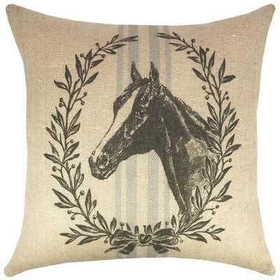 Horse Grain Sack Burlap Throw Pillow - Wayfair